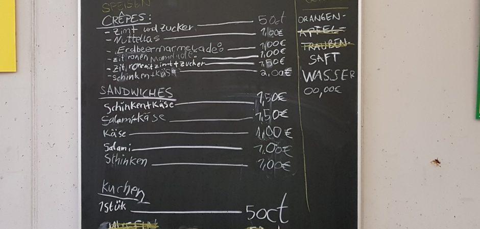 Gestaltete Menükarte des Imbiss Immerfrisch des Hort Südendschule
