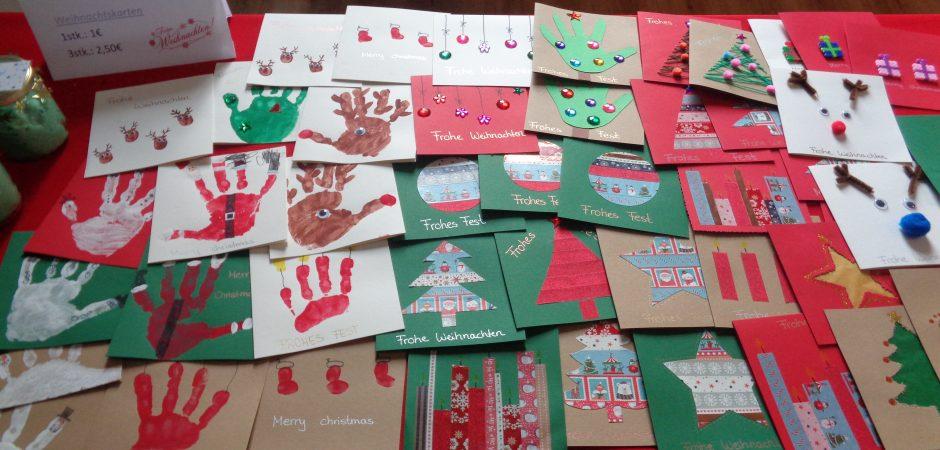 Weihnachtskarten auf dem Adventsbasar der Kita Stadtvilla